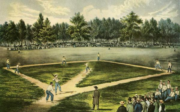 Color Currier and Ives 1866 of a baseball game in progress. Spectators stand along the playing field.