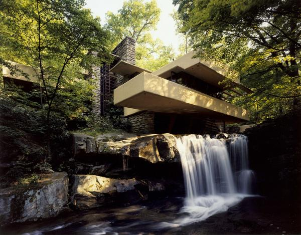 Photo, exterior overview, looking up the creek.