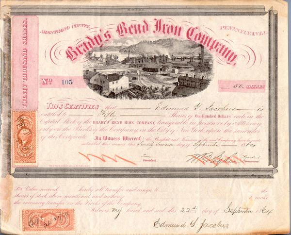 Brady's Bend Iron Work Company stock certificate, 1864 has the company title across the top of the certificate and an image of the works below the title. The certificate reads: this certifies that Edmund G. Jacobus is entitled to fifty shares at one hundred each in the Capitol Stock of the Brady's Bend Iron Company transferable in person or by attorney only in the books of the Company in the city of New York upon surrender of this certificate. 22 day of September 1864.