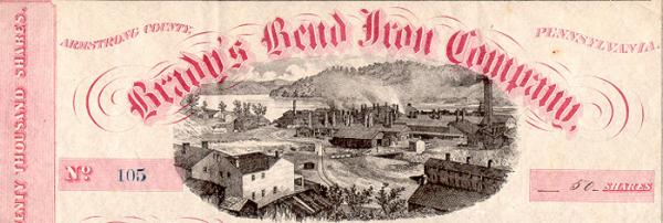 A detail of a stock certificate for the Brady's Bend Iron Company, depicting the Brady's Bend Works image