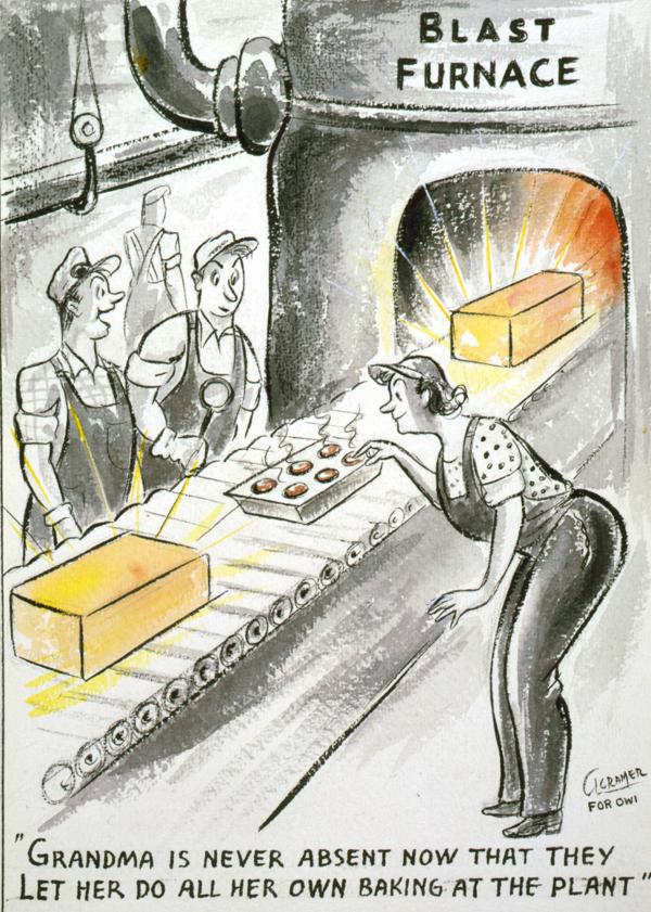 Two men wearing overalls watching a woman wearing overalls bending over a tin of muffins(?) she is feeding into a blast furnace.