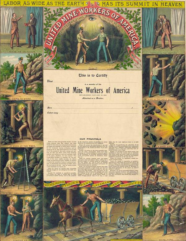 Certificate depicts several different rites of passage and the handshake of miners.