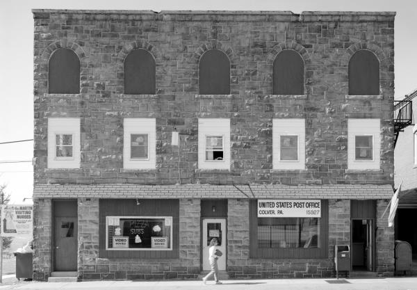 Ebensburg Coal Company Office, Colver, showing re-use of abandoned buildings. Now a post office and a pizza shop fill the space.