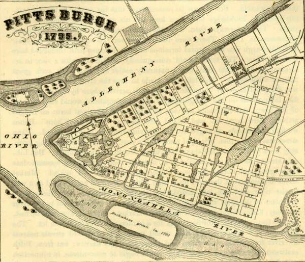 Map of the borough of Pittsburgh as laid out in 1795.