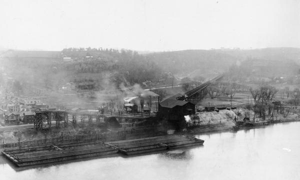 Vesta tipple,with Trestle and Rail Loading Conveyor,  view from across river.