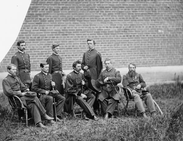 Left to right: Capt. R.A. Watts, Lt. Col. George W. Frederick, Lt. Col. William H.H. McCall, Lt. D.H. Geissinger, Gen. Hartranft, Asst. Surg. George L. Porter, Col. L.A. Dodd, Capt. Christian Rath.
