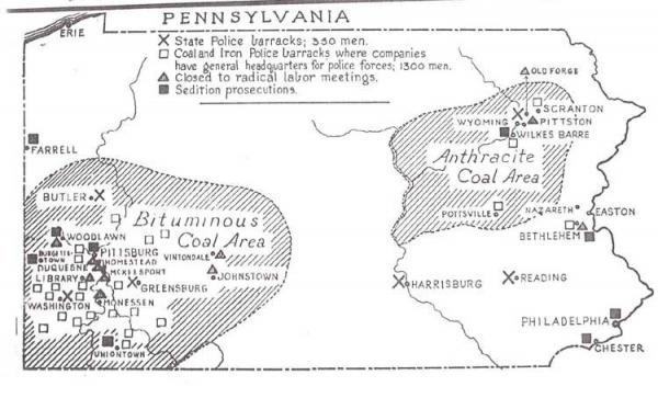 ACLU map indicating State Police barracks, Coal and Iron Police barracks, locations closed to radical labor meetings, and locations of sedition prosecutions.