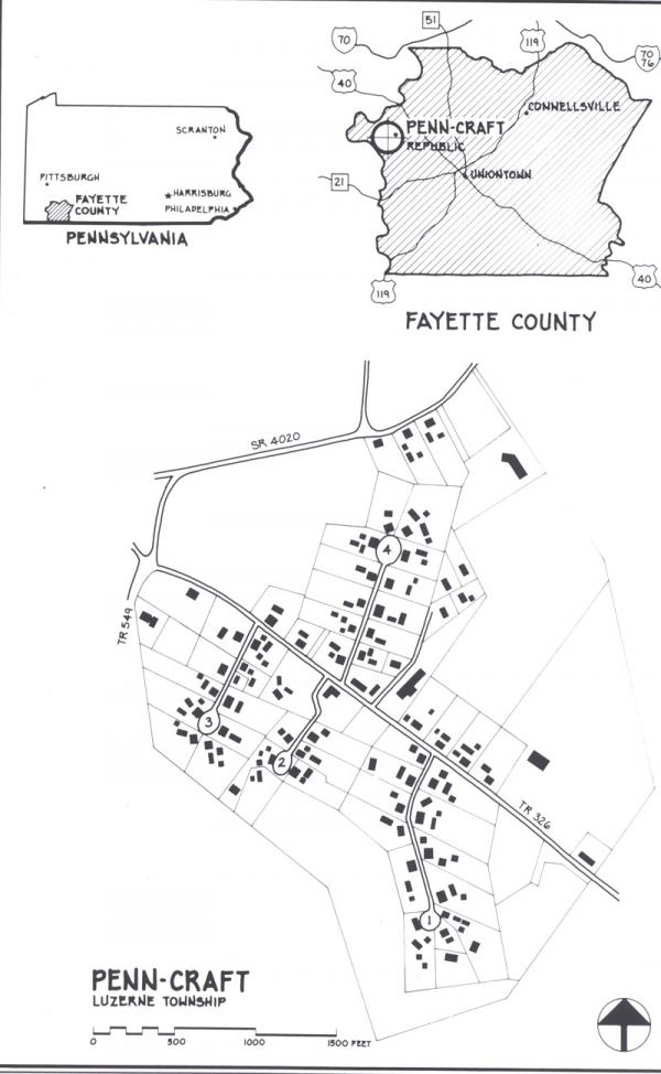 Black and white map outlining the housing project.