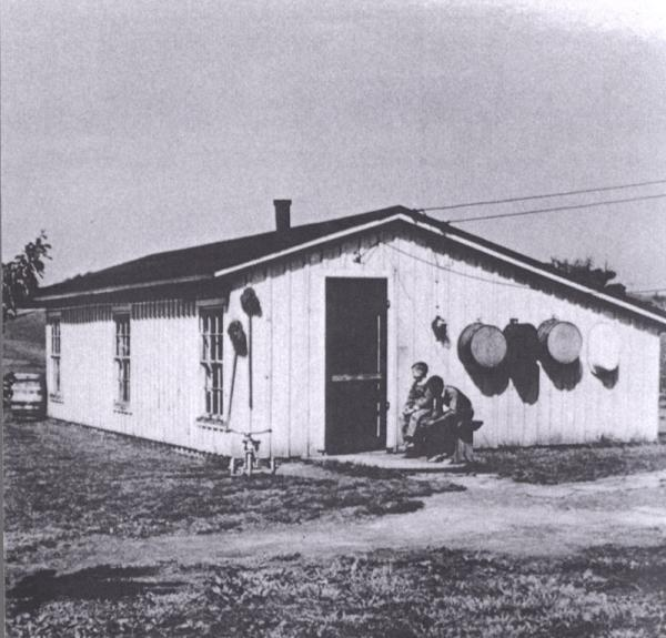 View of a poultry house, with board and batten siding.