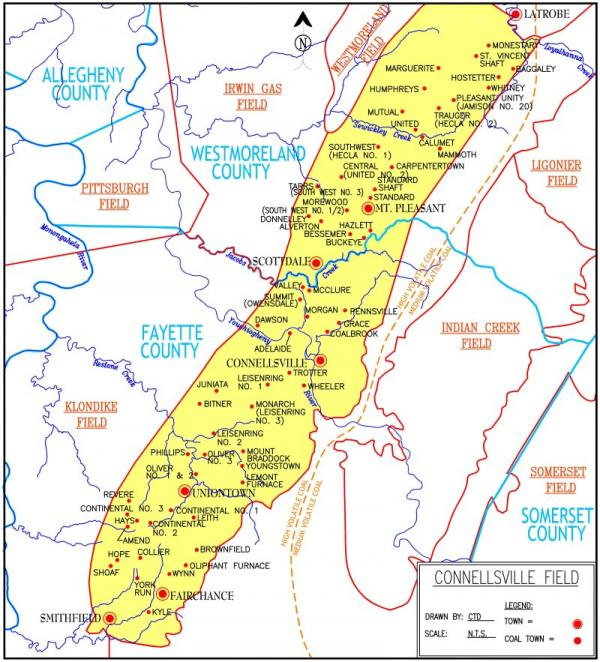 The yellow section of this map highlights the Connellsville coalfield and red dots mark the coal towns.