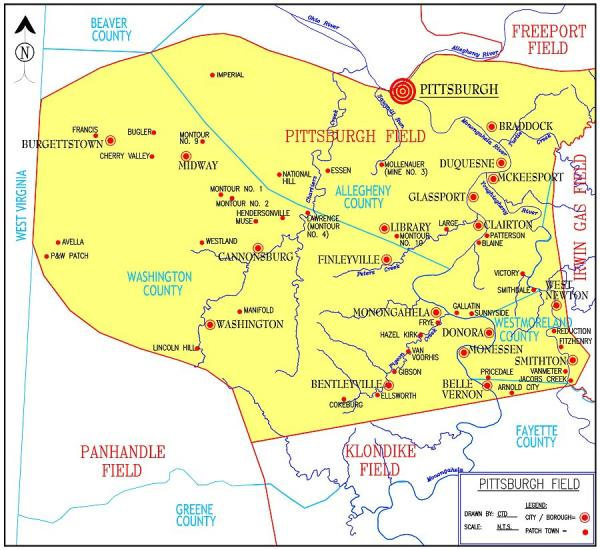 There is a yellow section of this map that outlines the Pittsburgh coalfield. Patch towns are marked with a red dot.