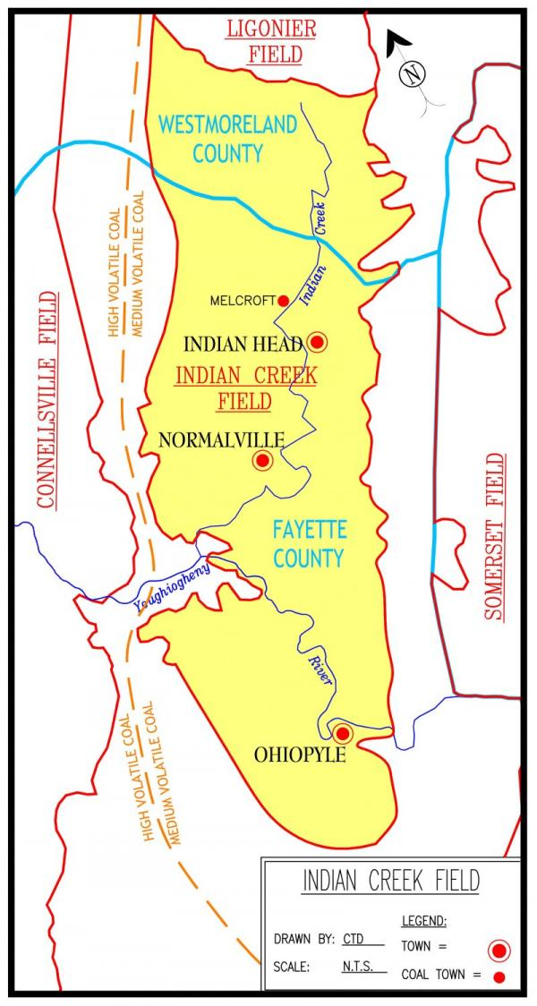 There is a yellow section of this map that outlines the Indian Creek Coalfield. Red dots indicate coal towns.