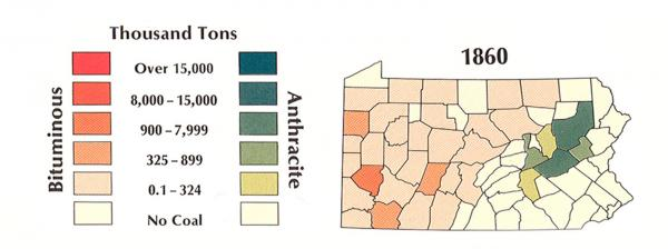 This Pennsylvania map shows the amount and location of anthracite and bituminous coal production in 1860.