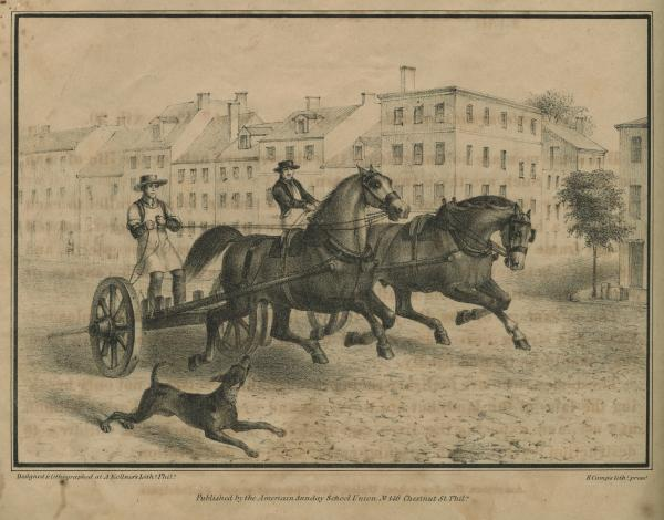 Drayman, horse and wagons, racing on the streets of Philadelphia.