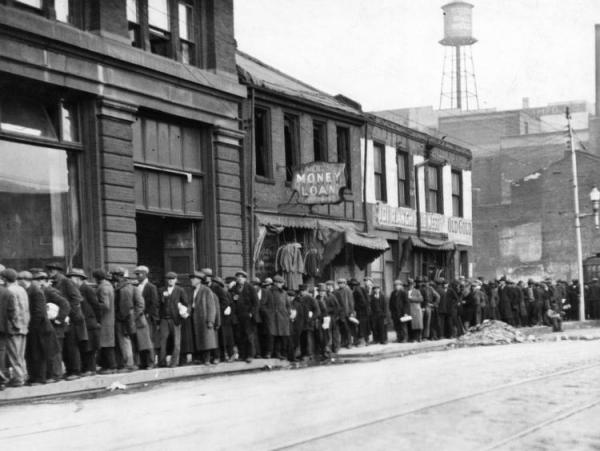 Men waiting in line during The Great Depression.