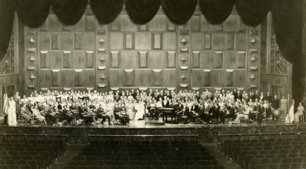 Choir singing as a group.