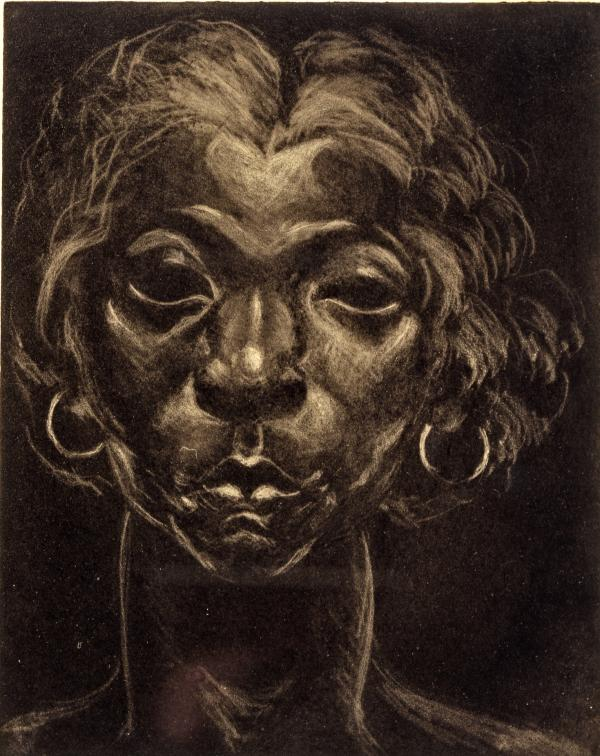 This portrait of a dark woman's face is created from etching and carborundum mezzotint.