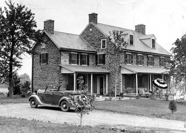 Exterior of the Pearl Buck residence, Bucks County, 1935.