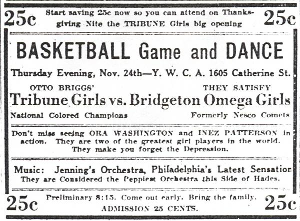 Advertisement for Philadelphia Tribune team, 1932.