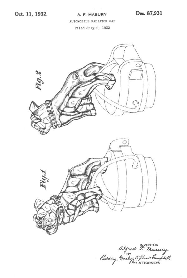 Filed July 21, 1932 this patent, numbered 87,931,  pictures two bulldog Automobile Radiator Caps.