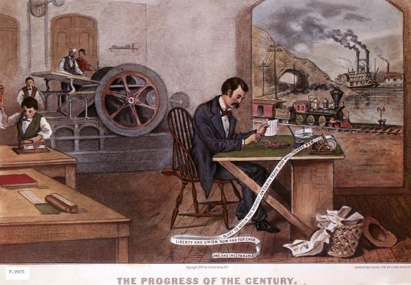 The Progress of the Century, lithograph, 1876, by Currier and Ives, depicting stages of progress. (Train, telegraph, printing press, steam boat, etc).