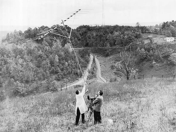 This photo of the three men putting up an antenna on a hill is believed to have been taken in Pennsylvania and depicts the very early days of Community Antenna TV, as cable was originally known.