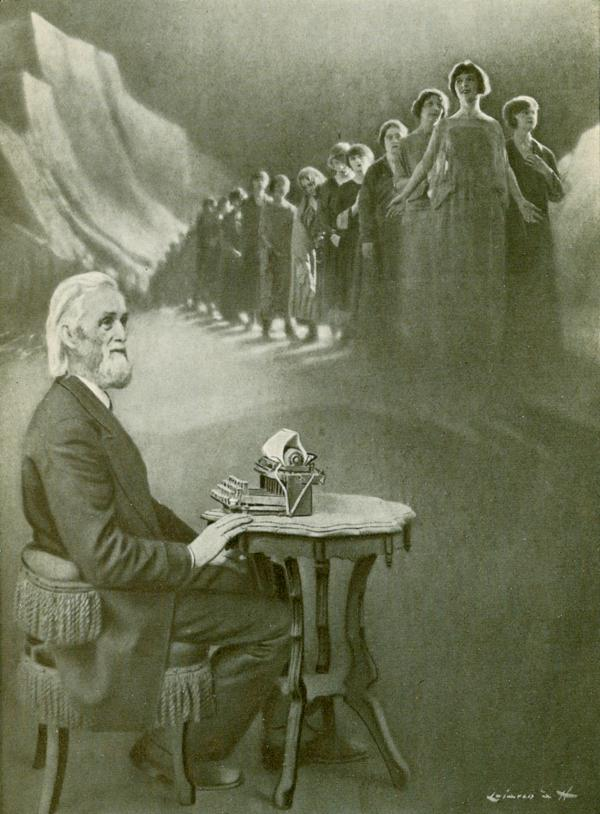 A man with a gray beard and hair, sits at a typewriter, while above are a long line of ladies that fade into the backgound.