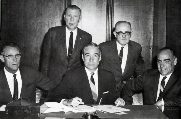 Jock Yablonski, Governor William Scranton, and others posing for this photograph.