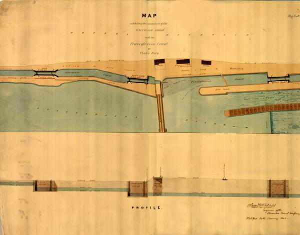 Map showing the Junction of the Wiconisco and Pennsylvania Canals at Clark's Ferry in 1846.