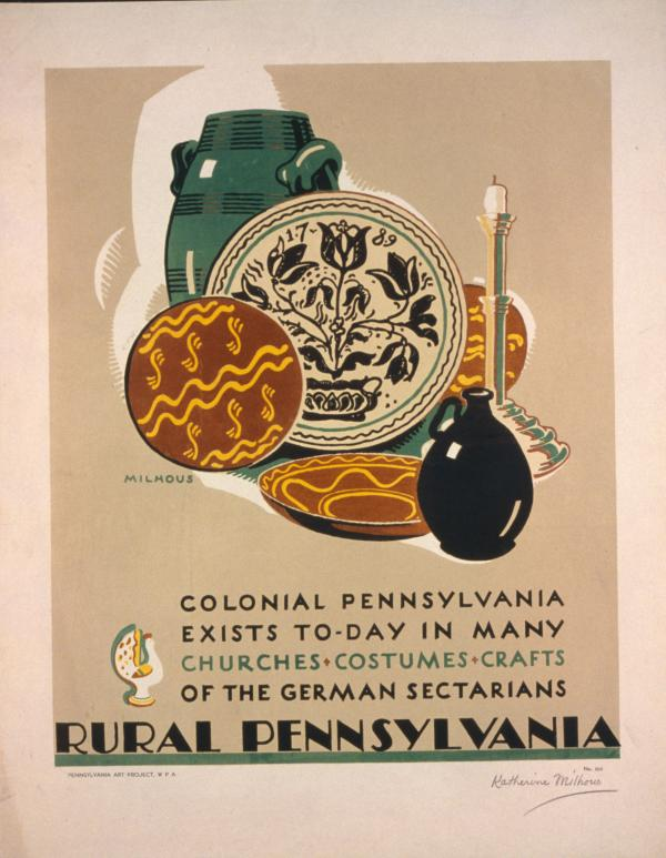 """Milhous illustrates plates, jugs, and a candle stick from Pennsylvania Dutch. Text reads: """"Colonial Pennsylvania Exists To-Day in Many Churches, Costumes, Crafts, of the German Sectarians/Rural Pennsylvania"""""""