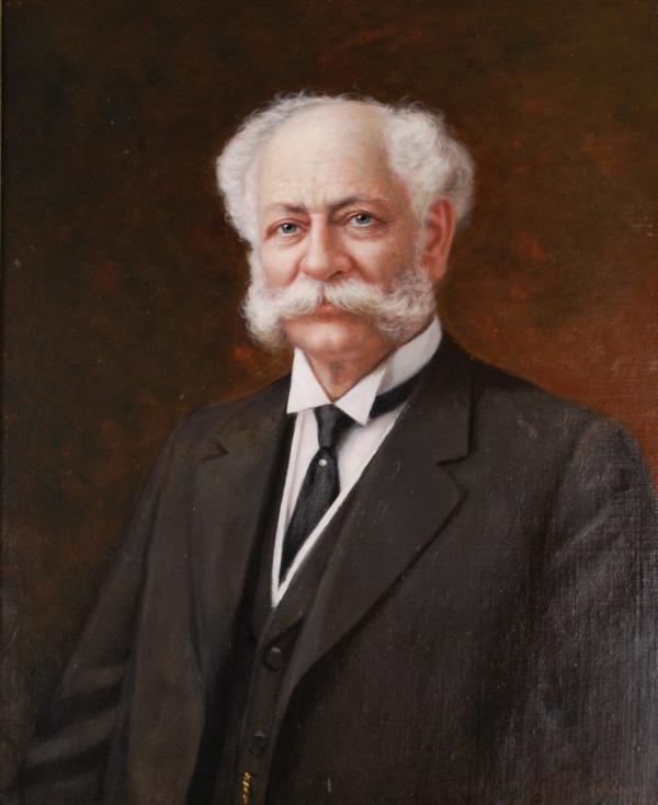 Oil on canvas portrait of Henry J. Heinz, wearing a suit, vest, and tie.