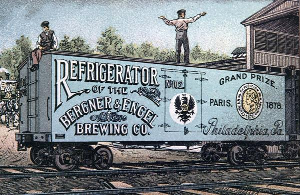 A man stands atop a refrigerator railroad car and one man sits at the edge of the back of the car near an attached ladder. The car bears the following written text: Refrigerator of the Bergner and Engel Brewing Company, Philadelphia, Pa., Grand Prize, Paris, April 1878.