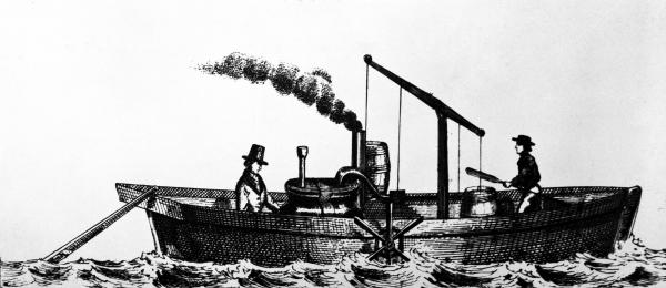 Sketch of a steam boat.