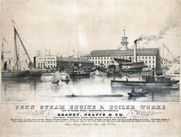 Lithograph on stone image of the Steam Engine and Boiler works, bordering the waterway, which is full of all kinds of ships, boats, and sailing vessels.