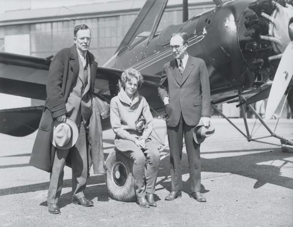 Amelia Earhart with Husband and Harold Pitcairn