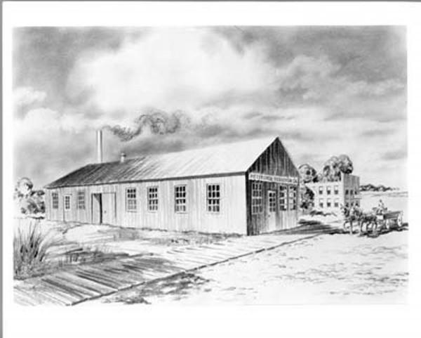 Black and white drawing of the exterior of the company. A wagon with horse and driver sits at the entrance.