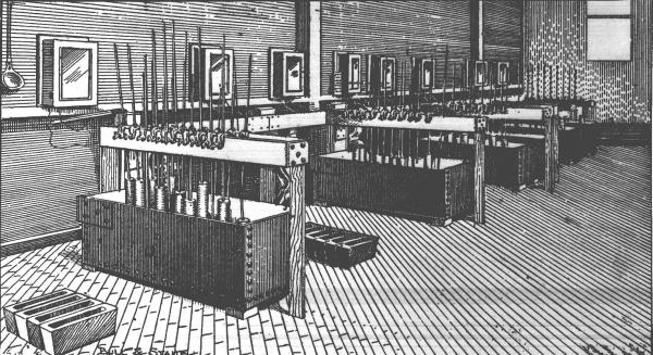 Drawing of the original Hall electrolytic cell set-up in the Pittsburgh Reduction Company plant, which shows the cast-iron crucibles, or pots, the carbon anodes suspended by copper rods from an overhead copper support, and on the floor, ingot molds.