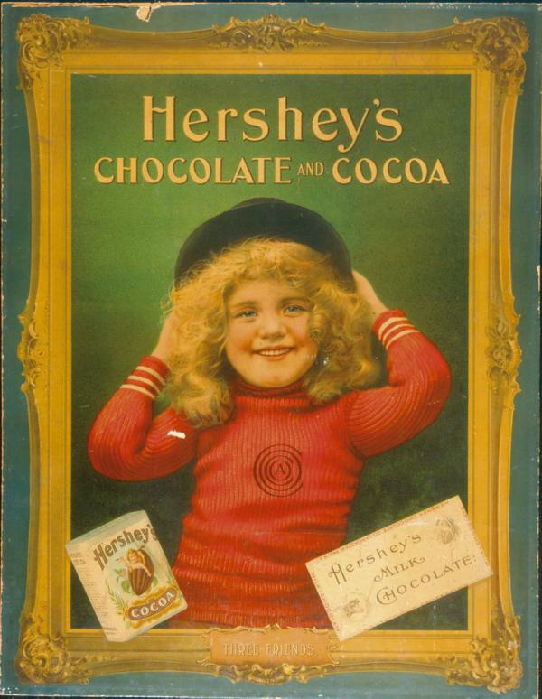 "Advertisement; ""Three Friends""; point of purchase poster depicting a little girl in red sweater, with  illustrations of first milk chocolate bar wrapper and  Hershey's breakfast cocoa."