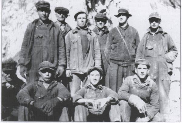 Alpha Portland Cement Company, quarry workers pose for this photograph, in the pit near Martin's Creek.