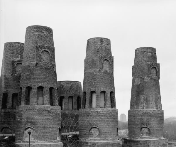 General view showing  cement kilns.