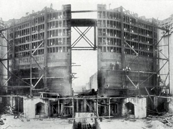 Image of the Lock and gates, construction not yet completed.