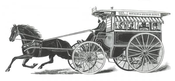 A black and white image of a four wheeled carriage with four window openings on each side, filled with passengers, totaling eight. The carriage is operated by a uniformed driver guiding a black, harnessed horse. A sign along the top of the carriage reads: Seats /Tickets 25¢, Northern and Southern Depots.