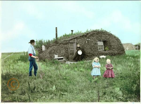 Western homestead hand-colored photo