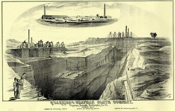 Image of a deep quarry and the factory sits in the top of the photo.