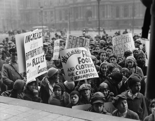 Children with placards at a communist rally in Philadelphia, PA. January 14, 1933.