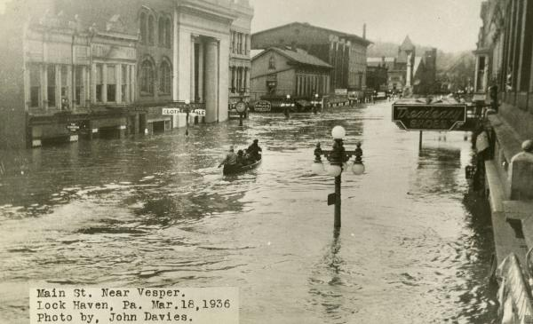 Flooded Main Street near Vesper, Lock Haven, PA, March 18, 1936.