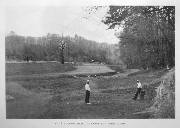 """The Devils Own,"" the 8th hole of the Cricket Club's original 9-hole golf course, 1895."