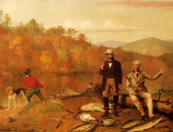 Club founders Fayette S. Giles and John Avery with a deer, fowl, and fish at their feet. A beagle stands at the water's edge and a man tries to pull a canoe from the water.