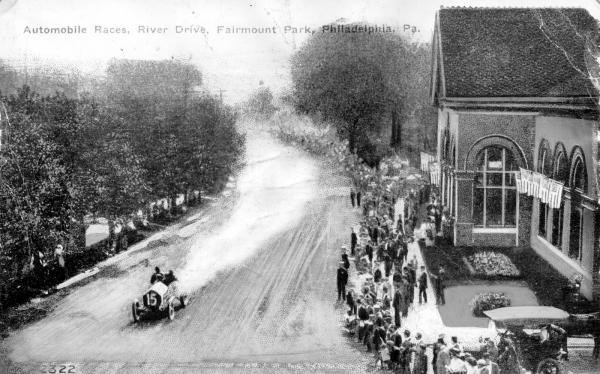 Car #15 passes by spectators during Fairmount Park Motor Race.