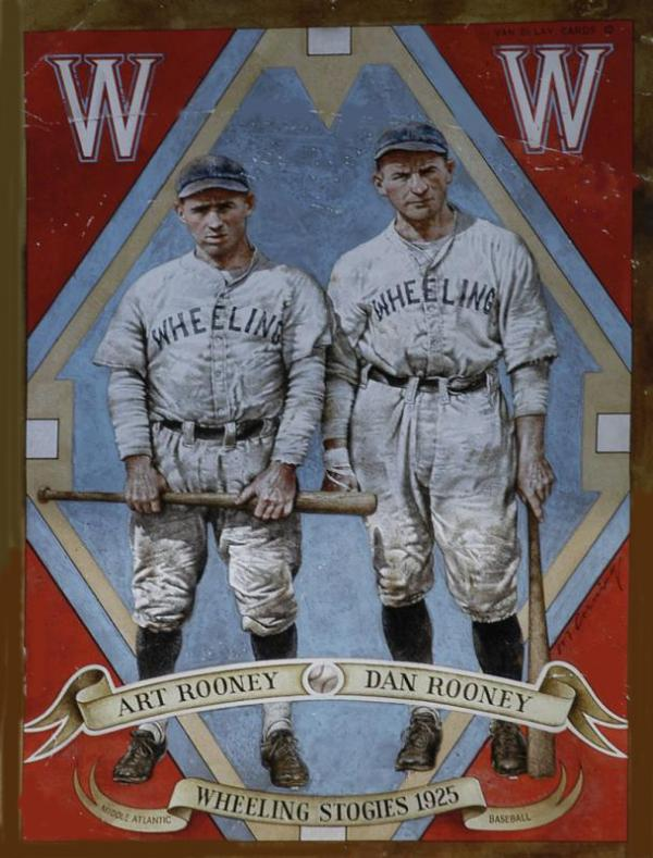 Two men wearing baseball uniforms for the Wheeling Stogies Wheeling, West Virginia, and holding bats pose for this baseball card. Art Rooney is on the left, Dan is on the right.